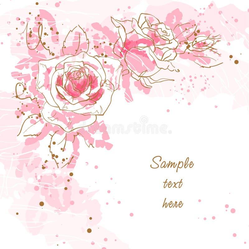 Fundo romântico com rosas ilustração do vetor