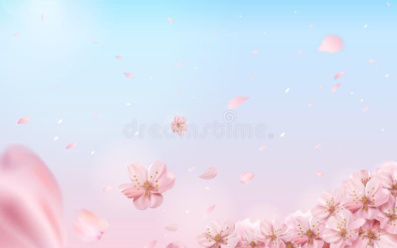 Fundo romântico da flor de cerejeira ilustração royalty free