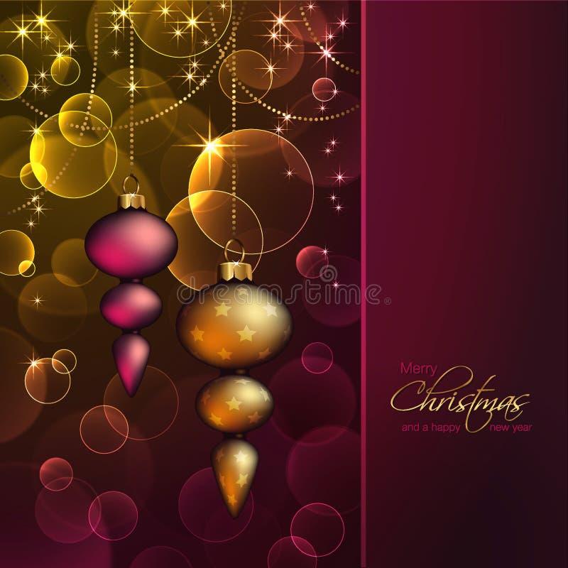 Fundo romântico do Natal com ornamento ilustração do vetor