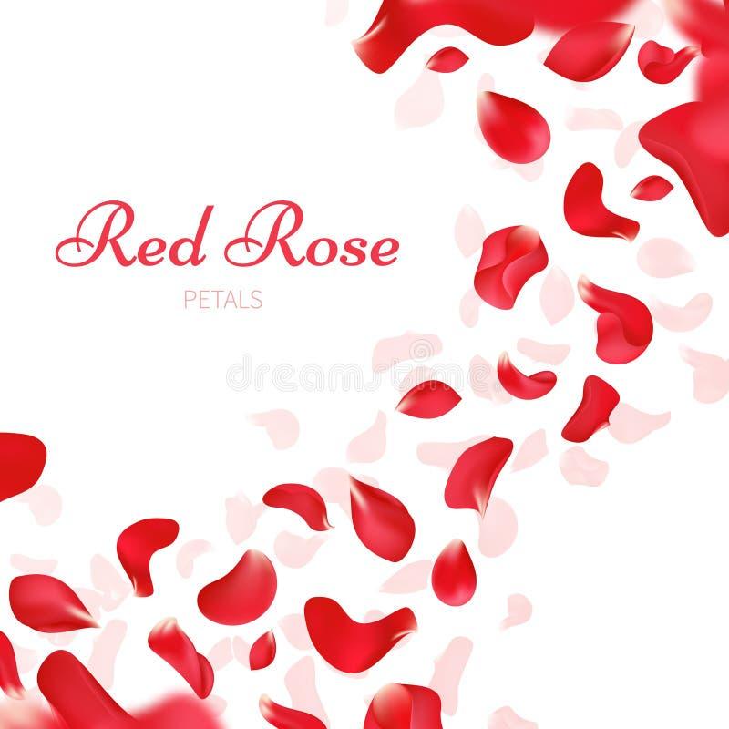 Fundo romântico do vetor do casamento com as pétalas cor-de-rosa vermelhas de queda ilustração royalty free