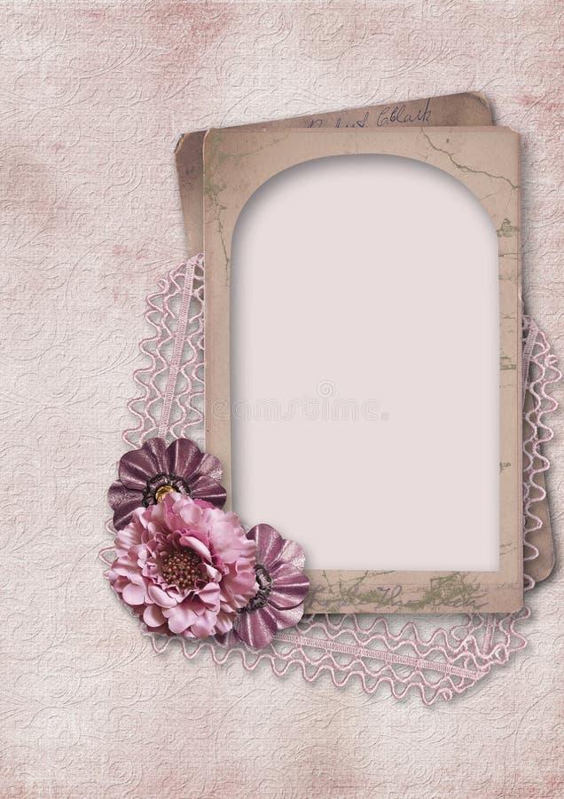 Fundo romântico do vintage retro com quadro e flores ilustração royalty free