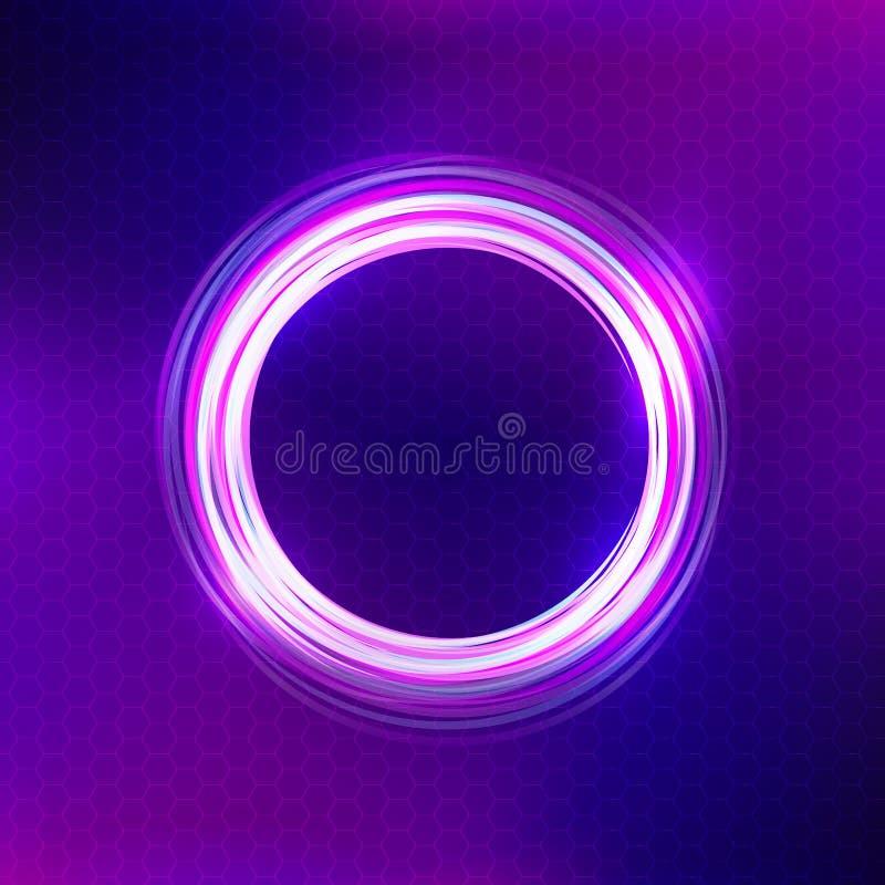 Fundo roxo abstrato com círculo iluminado ilustração do vetor