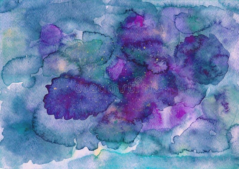 Fundo roxo azul da aguarela ilustração royalty free