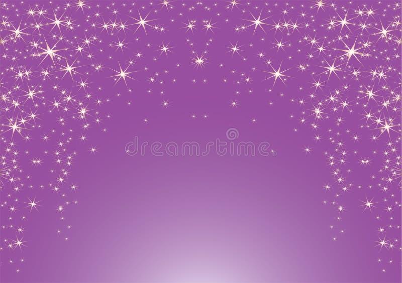 Fundo roxo com estrelas ilustração do vetor