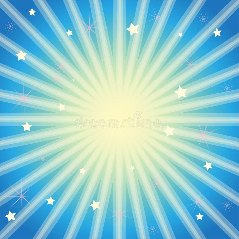 Fundo roxo com estrelas e irradiacão de raios claros ilustração royalty free
