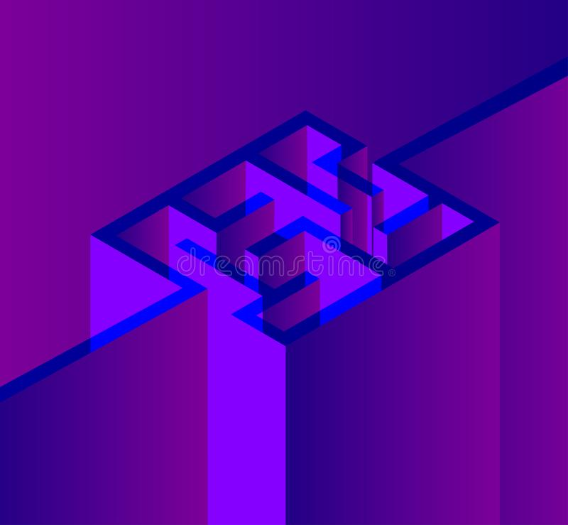 Fundo roxo com o labirinto 3d ilustração do vetor