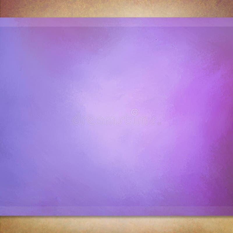 Fundo roxo com quadro textured marrom e listras roxas foto de stock royalty free