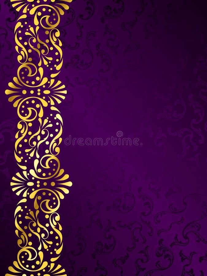Fundo roxo com uma margem filigree do ouro ilustração do vetor