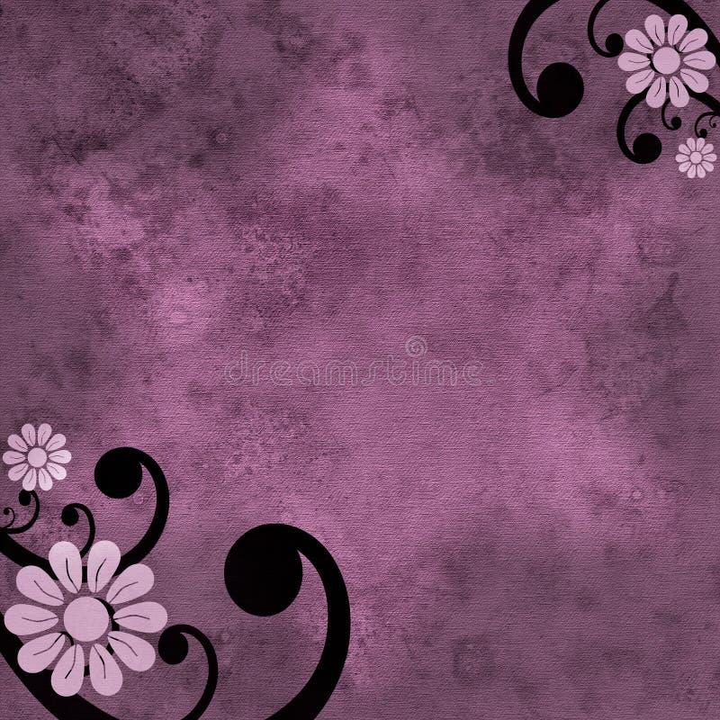 Fundo roxo da flor e do redemoinho ilustração stock