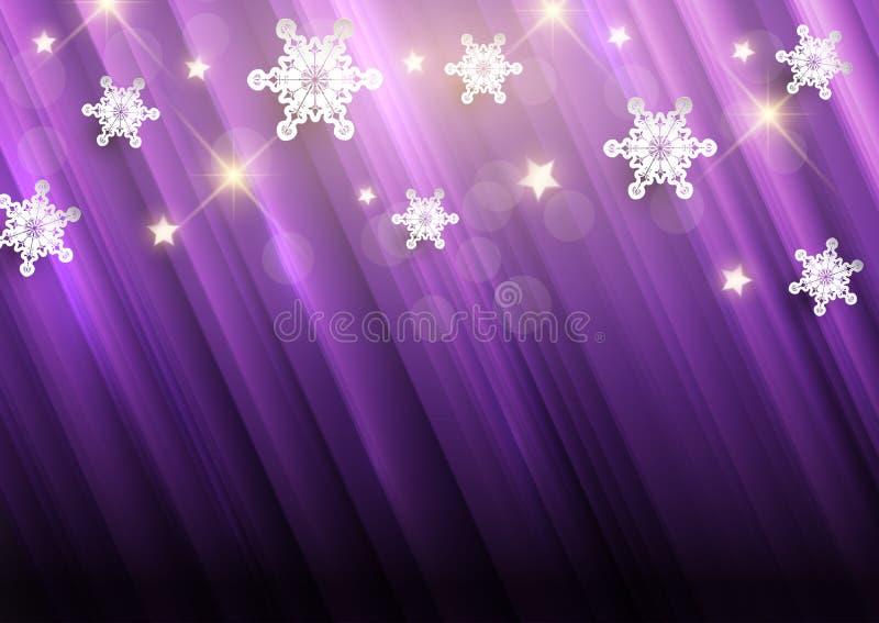 Fundo roxo do Natal com flocos de neve e estrelas ilustração royalty free