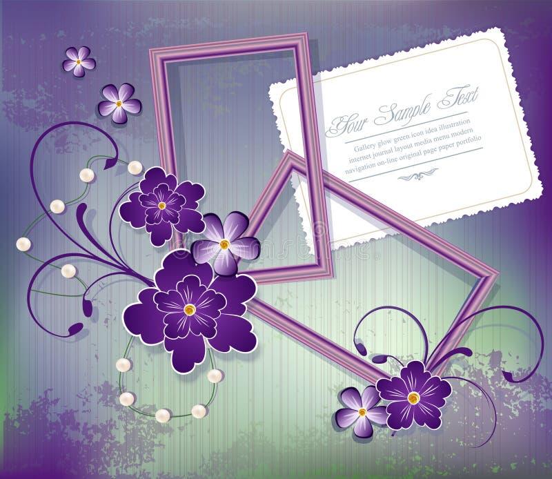 Fundo roxo do vetor com flores dois frames ilustração royalty free