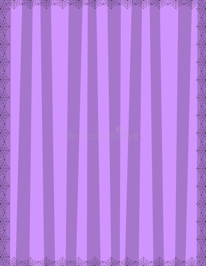 Fundo roxo listrado com as listras verticais bonitos quadro com teia de aranha da aranha ilustração royalty free