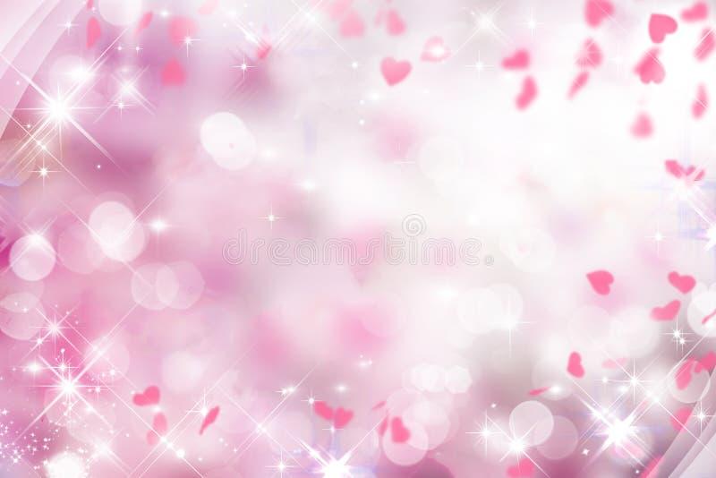 Fundo roxo obscuro com rosa e branco e corações no dia do ` s do Valentim, casamento, feriado, faísca, bokeh imagens de stock royalty free