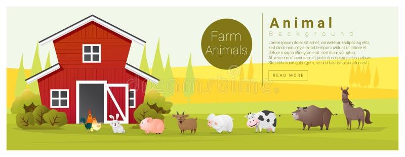 Fundo rural da paisagem e do animal de exploração agrícola ilustração royalty free