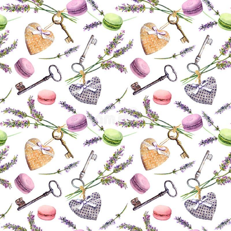 Fundo rural francês - a alfazema floresce, bolos do bolinho de amêndoa, chaves do vintage, corações de matéria têxtil Teste padrã ilustração royalty free