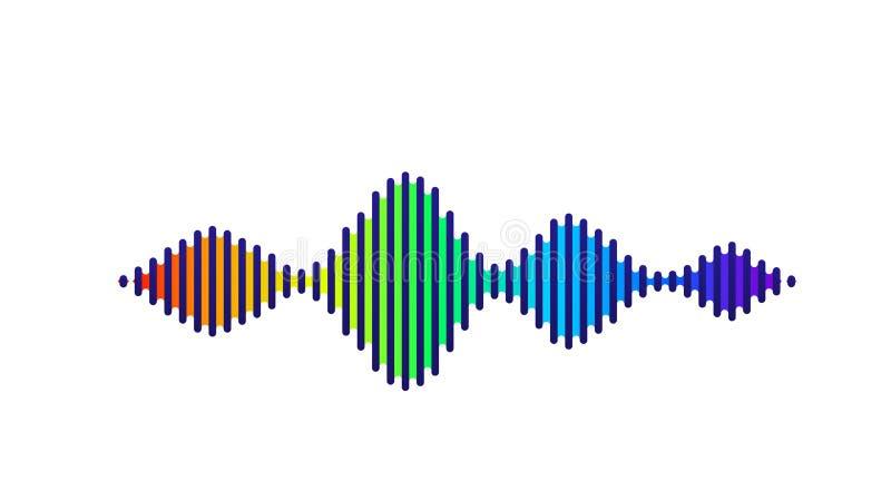 Fundo sadio do vetor da onda Projeto do soundwave do fluxo da música, elementos de cor do espectro isolados no contexto branco rá ilustração stock