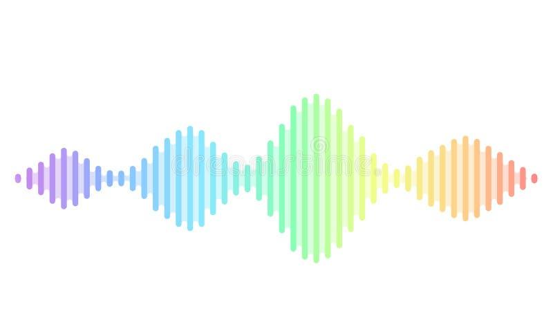 Fundo sadio do vetor da onda Projeto do soundwave do fluxo da música, elementos de cor do espectro isolados no contexto branco rá ilustração royalty free