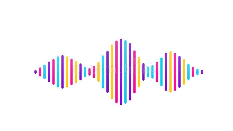 Fundo sadio do vetor da onda Projeto do soundwave do fluxo da música, elementos de cor isolados no contexto branco Batida de rádi ilustração royalty free