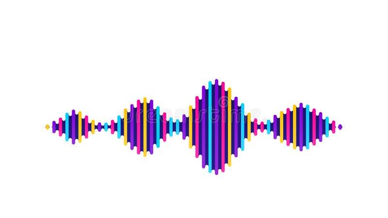 Fundo sadio do vetor da onda Projeto do soundwave do fluxo da música, elementos de cor isolados no contexto branco Batida de rádi ilustração do vetor