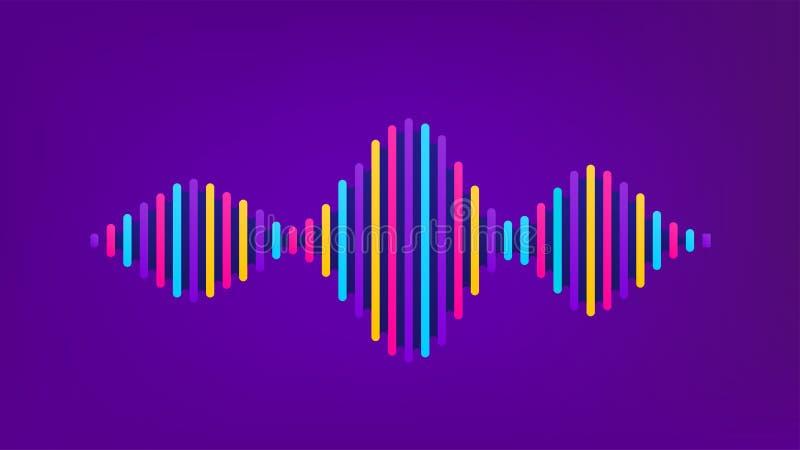 Fundo sadio do vetor da onda Projeto do soundwave do fluxo da música, elementos de cor isolados no contexto roxo Batida de rádio ilustração royalty free