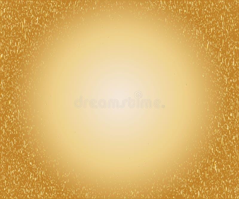 Fundo salpicado do ouro com círculo de incandescência ilustração do vetor