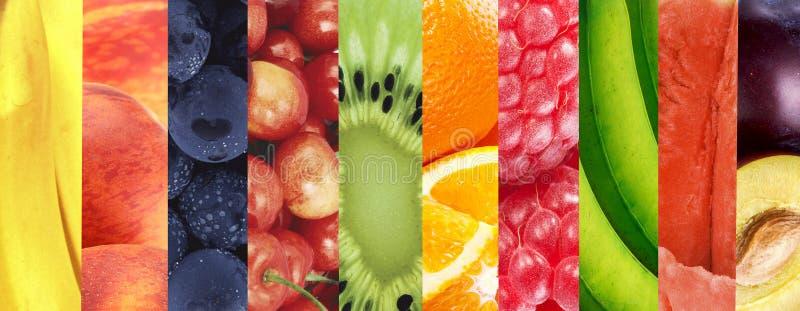 Fundo saudável do alimento Colagem do fruto fresco do verão nas FO fotos de stock royalty free