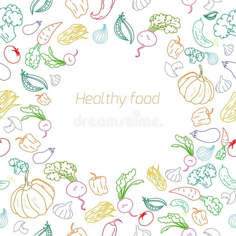 Fundo saudável dos vegetais do placeholder do texto ilustração do vetor