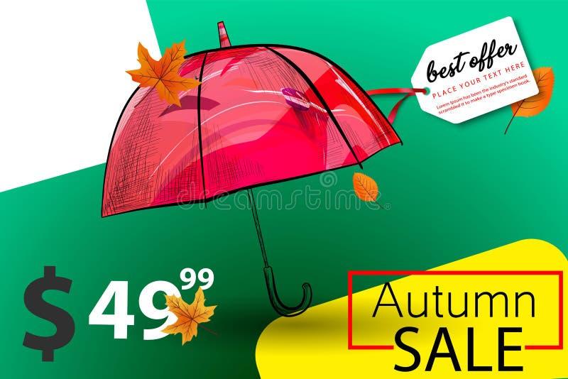 Fundo sazonal da venda do outono com folhas e guarda-chuva de outono Rotulação com inscrição caligráfica Autumn Sale Estoque do v ilustração stock