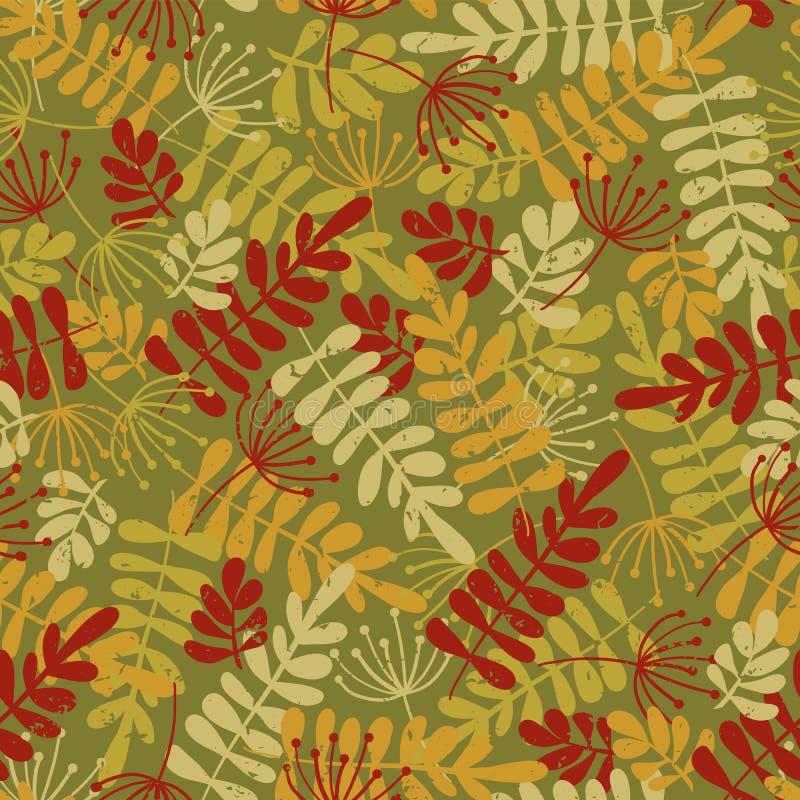 Fundo sazonal do vetor sem emenda das folhas de outono Ouro, fundo vermelho, verde, bege da queda da silhueta da folha afligido P ilustração do vetor