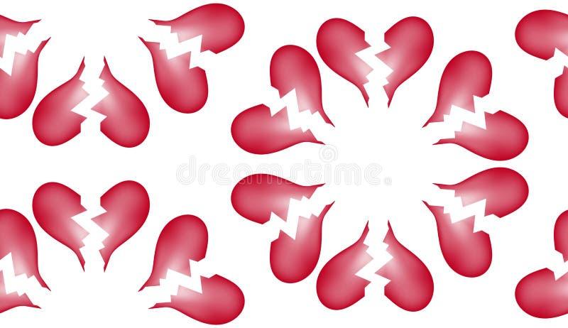 Fundo sem emenda 7 do teste padrão da telha do coração quebrado ilustração royalty free