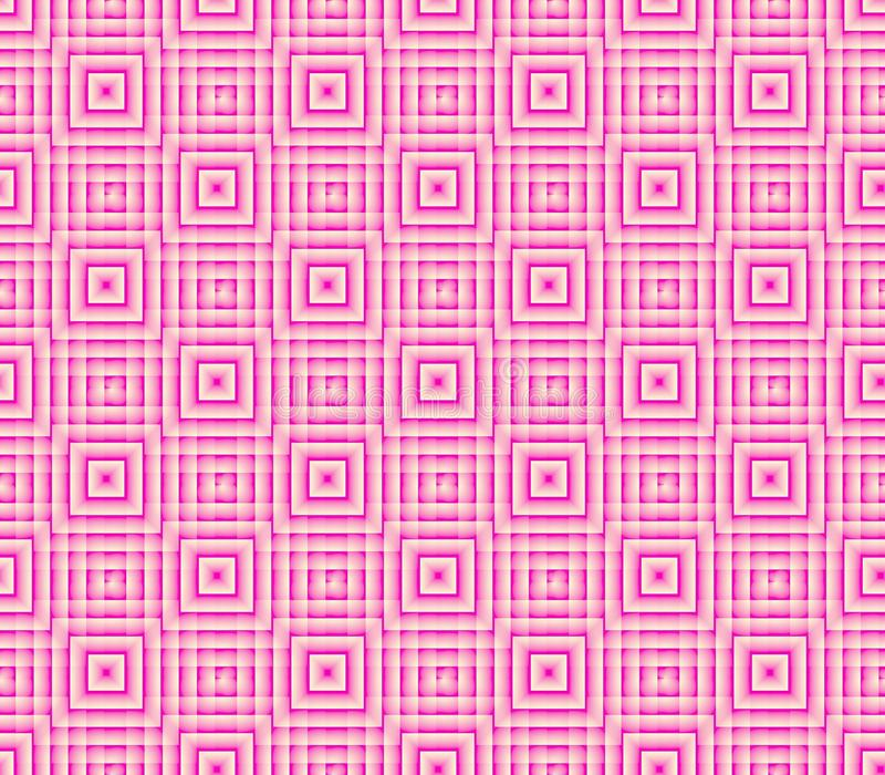 Fundo sem emenda abstrato de linhas cor-de-rosa e brancas e de quadrados ilustração stock