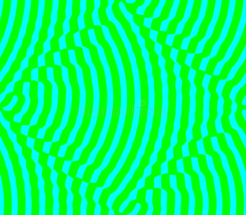 Fundo sem emenda abstrato de listras verdes e azuis, pontos ilustração do vetor