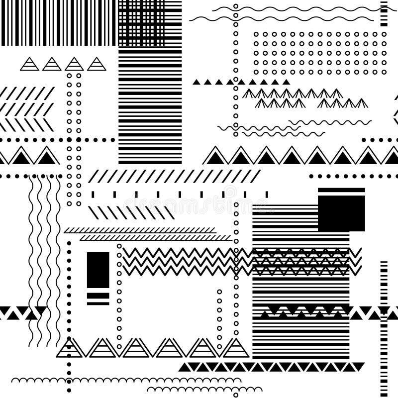 Fundo sem emenda abstrato do techno Teste padrão geométrico do vetor nas cores brancas e pretas ilustração royalty free