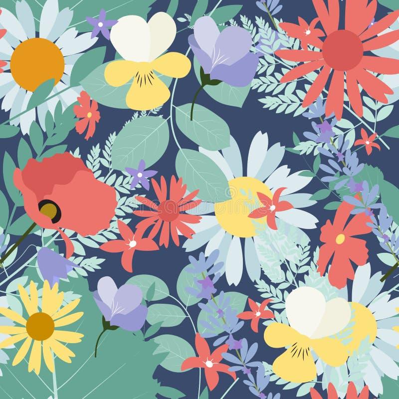Fundo sem emenda abstrato do teste padrão da mola natural com flores ilustração stock