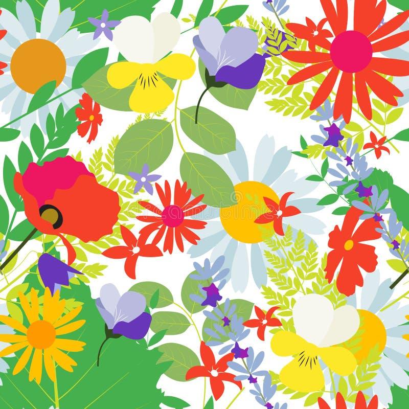 Fundo sem emenda abstrato do teste padrão da mola natural com flores ilustração do vetor