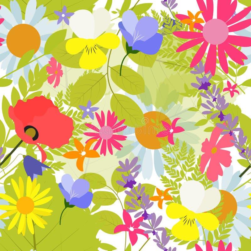Fundo sem emenda abstrato do teste padrão da mola natural com flores ilustração royalty free