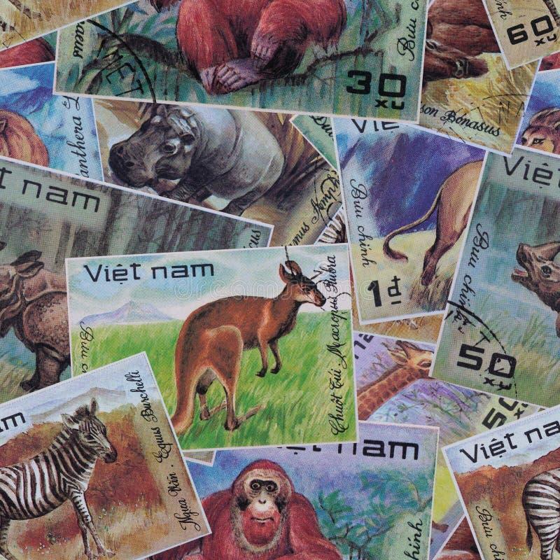 Fundo sem emenda abstrato do teste padrão O cargo carimba Vietname ilustração do vetor