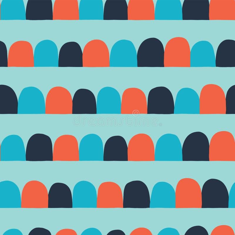 Fundo sem emenda abstrato do vetor Arcos alinhados horizontais, meios círculos Azul, laranja, cerceta Teste padrão geométrico mod ilustração stock