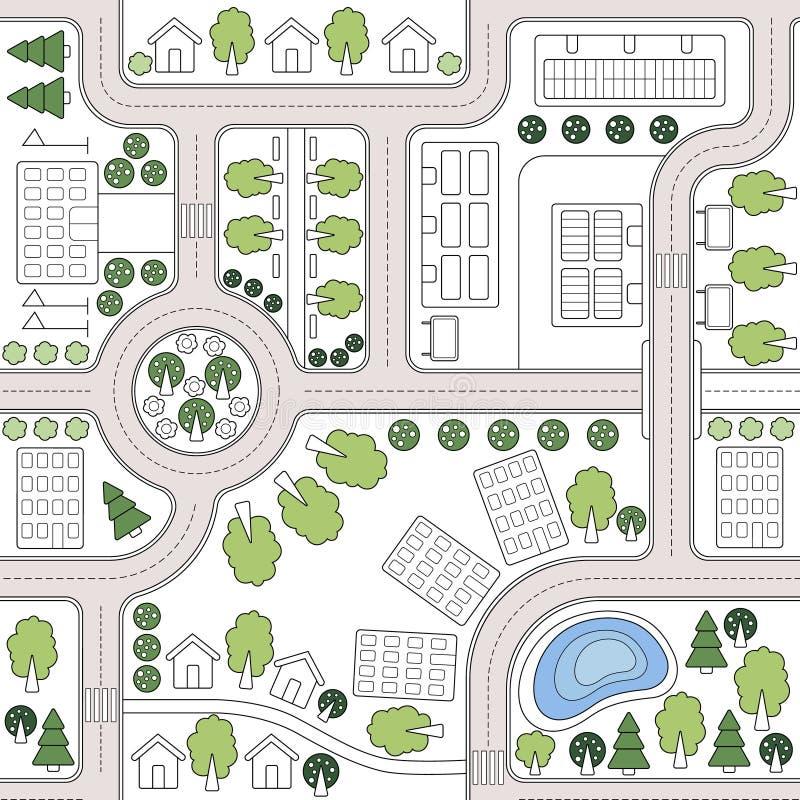 Fundo sem emenda abstrato do vetor, teste padrão, papel de parede, contexto com casas, estradas, árvores Plano urbanístico da pai ilustração stock