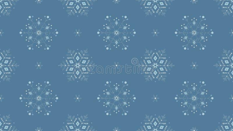 Fundo sem emenda azul congelado do grunge ornamentado dos flocos de neve ilustração stock