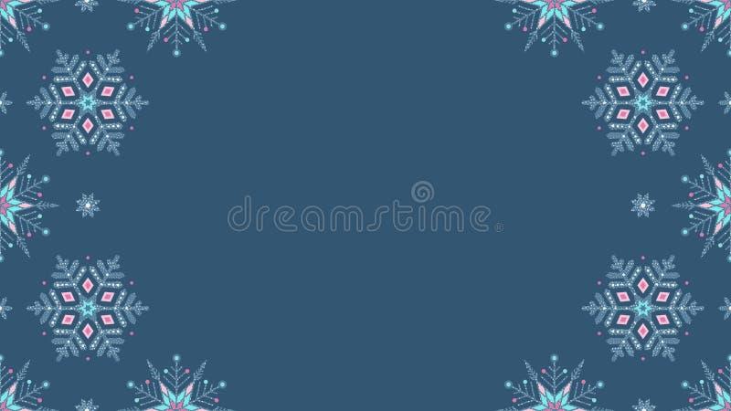 Fundo sem emenda azul congelado do grunge ornamentado dos flocos de neve ilustração royalty free