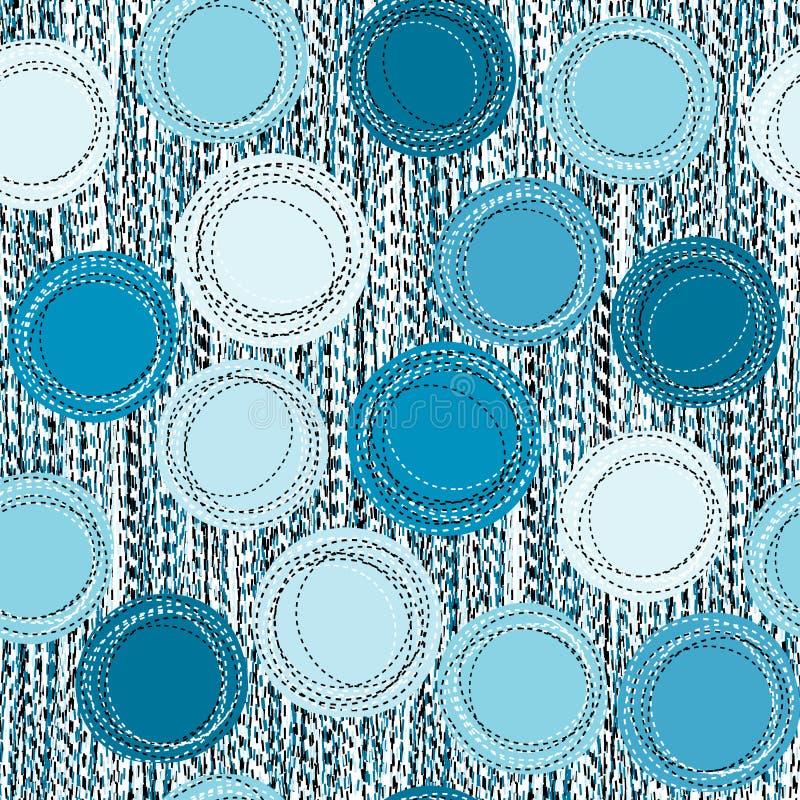 Fundo sem emenda azul costurado das formas redondas ilustração stock