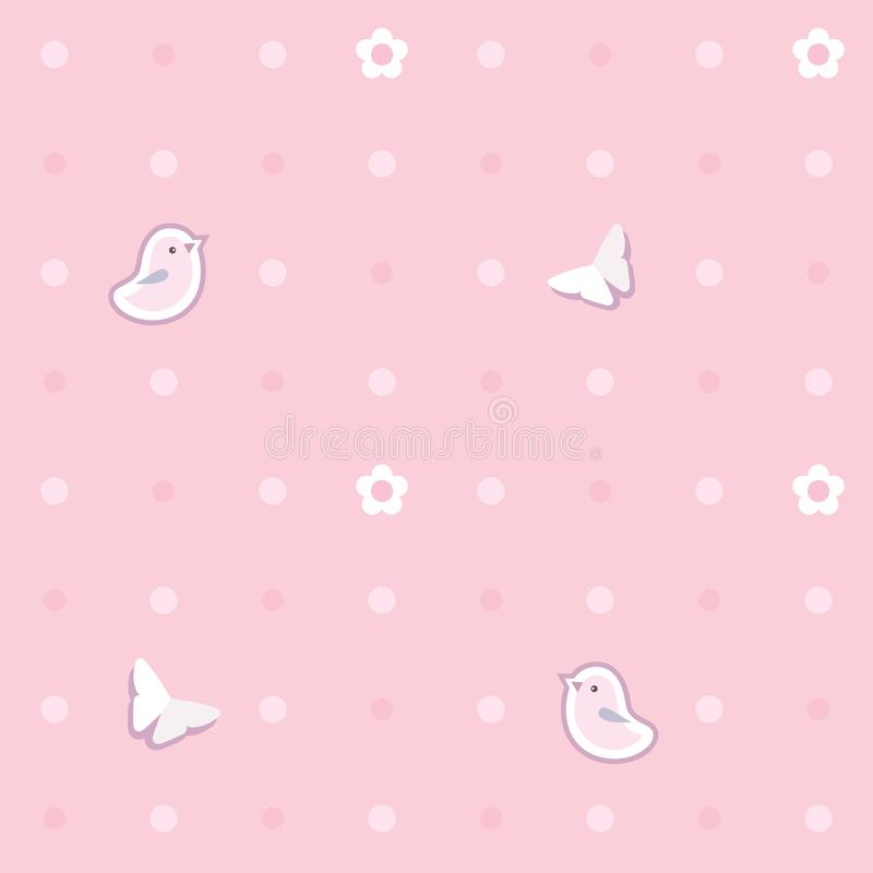 Fundo sem emenda bonito com pássaros cor-de-rosa, borboletas, flores teste padrão de às bolinhas ilustração do vetor