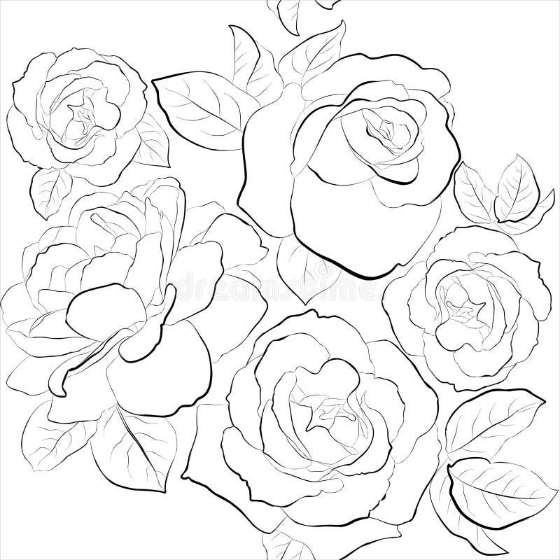 Fundo sem emenda bonito com rosas ilustração do vetor