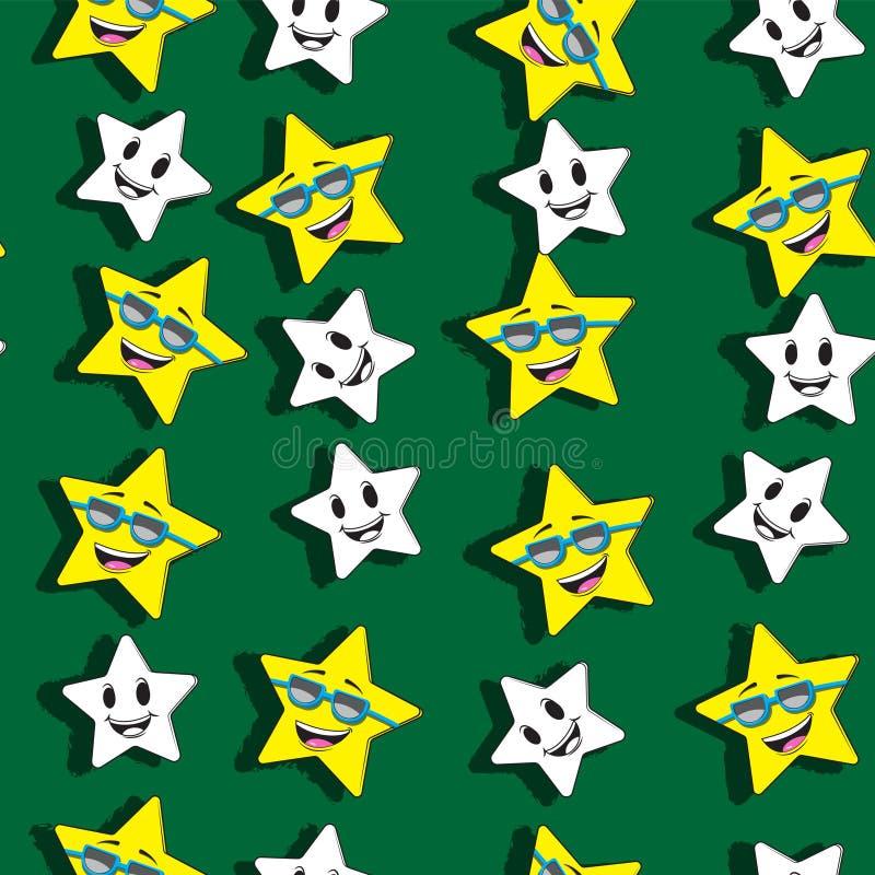 Fundo sem emenda bonito do teste padrão com estrelas dos desenhos animados Para a roupa das crian?as, pijamas, projeto da festa d ilustração stock