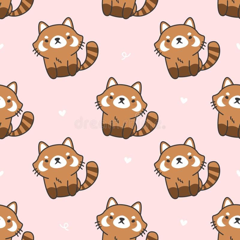 Fundo sem emenda bonito do teste padrão da panda vermelha ilustração stock