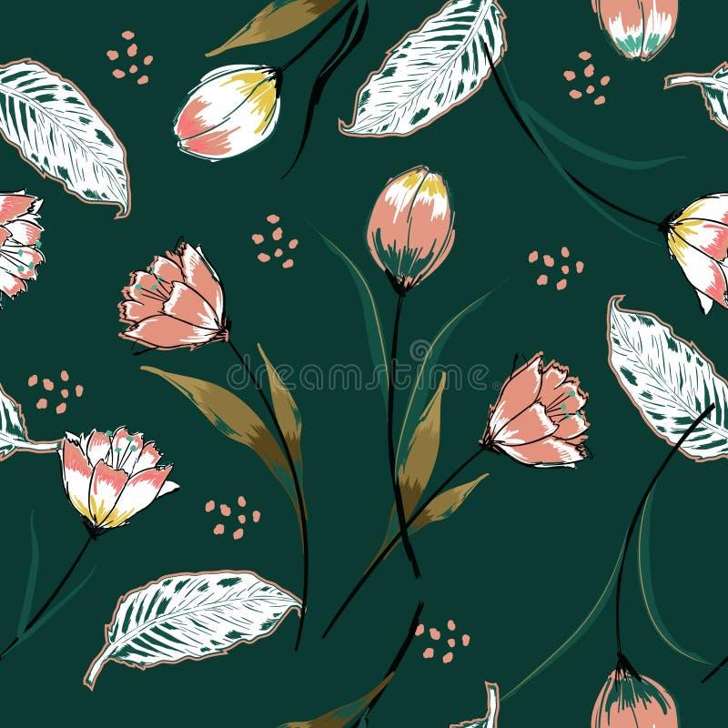 Fundo sem emenda bonito do vetor com as tulipas cor-de-rosa coloridas ilustração royalty free