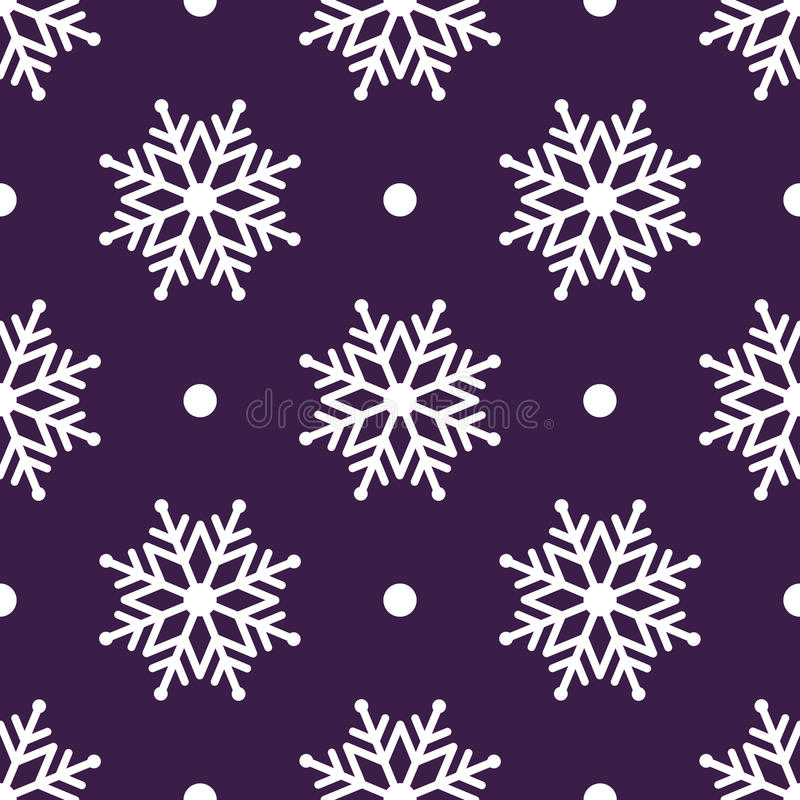 Fundo sem emenda bonito pelo Feliz Natal ou o ano novo Neve-flocos brancos em um fundo ilustração stock