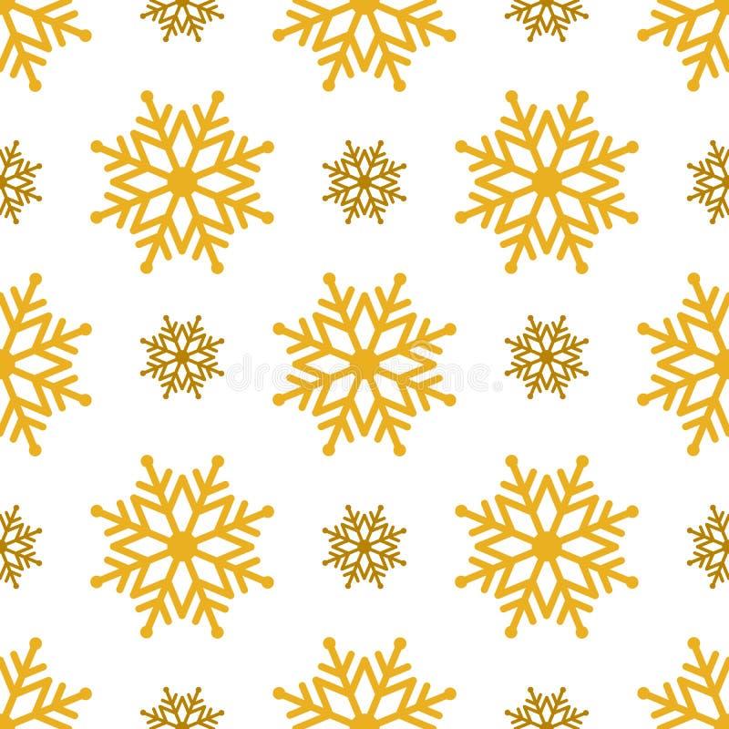 Fundo sem emenda bonito pelo Feliz Natal ou o ano novo Neve-flocos dourados em um fundo branco ilustração do vetor