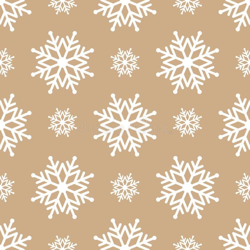 Fundo sem emenda bonito pelo Feliz Natal ou o ano novo Neve-flocos em um fundo dourado ilustração royalty free